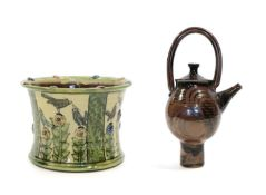 Katherine Winfrey (1966-): An Earthenware Planter, decorated with birds and flowers, in coloured