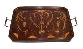 A Shapland & Petter, Barnstaple Art Nouveau Marquetry Inlaid Mahogany Tray, circa 1900, of canted