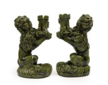 Attributed to Émile Gallé (French, 1846-1904) for Nancy Saint Clement: A Pair of Lion