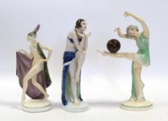 An Art Deco Katzhutte (Thuringia) Pottery Figure, modelled as a nude female wearing a cape and