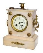An alabaster French striking mantel clock, circa 1910, 28cm high