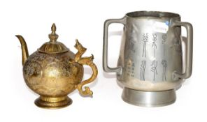 A Chinese white metal tyg and and a gilt metal teapot (2)