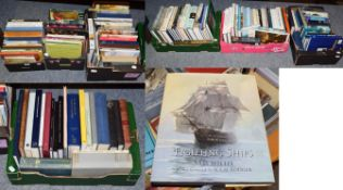 Seven boxes of art reference books including works on British artists, Old Masters, maritime