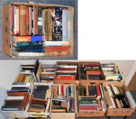 Eleven boxes of books including novels, geographical, ornithological and other reference etc
