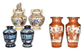 A pair of Japanese Meiji period Kutani vases, a pair of Satsuma style koro and a pair of Syrian