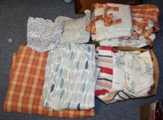 Two boxes of Laura Ashley curtains etc