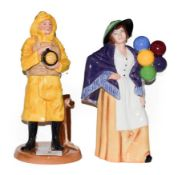 Two Royal Doulton figures, Balloon Lady HN2935 and Lifeboat Man HN4570