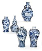 Five pieces of 19th century Chinese blue and white porcelain, including a pair of meiping vases