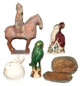 A collection of ceramics including a Rye pottery model of a seated hare, a Japanese blanc-de-chine