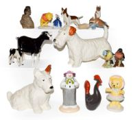 Beswick, Royal Doulton and other figures including an I.O.M Shebeg goat