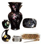 An Art Deco silvered porcelain Silberporzellan Pluderhausen vase and similar pieces together with