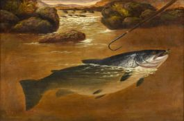 Attributed to A Roland Knight (fl.1879-1921) ''Salmon and a gaff'' Bears signature, oil on canvas,