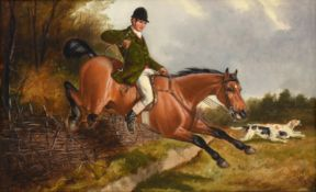John Alfred Wheeler (1821-1903) Taking a fence Signed, oil on board, 28cm by 45.5cm See