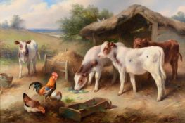 Walter Hunt (1861-1941) Calves and poultry feeding at a thatched stable Signed and dated 1921,