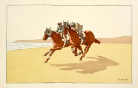 Charles Ancelin (1863-1940) French Race horses exercising on the beach Lithograph,