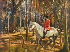 Arthur Spooner (1873-1962) Huntsman and hounds on the scent in Autumnal woodland Signed, oil on