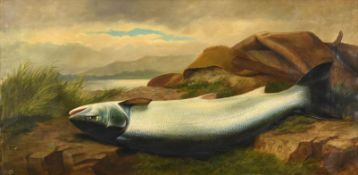 John Bucknell Russell (1819-1893) Landed salmon and canvas bag by the waterside Signed, oil on