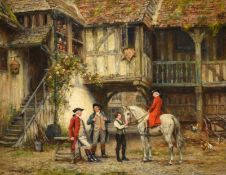 Frank Moss Bennett (1874-1952) Return from the hunt Signed and dated 1937, oil on canvas, 39.5cm