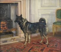 Anthony De Bree (1855-1921) Study of Lady Halifax's dog in the drawing room at Garrowby Hall