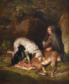 Follower of Sir Edwin Henry Landseer RA (1802-1873) Deer hunter with kill and attendant hounds Oil