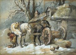 Harden Sidney Melville (1824-1894) A blacksmith shoeing a horse outside a thatched cottage in winter