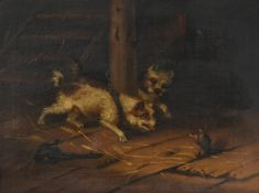Attributed to George Armfield (1808-1893) Terriers ratting in a stable interior Oil on canvas, 43.