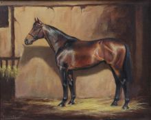 Frank Geere (1931-1991) Study of a Bay Horse in a stable Signed and dated (19)85, oil on canvas,