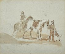 Circle of Peter Tillemans (1684-1734) Flemish Horses with their groomsmen Mixed media on coloured
