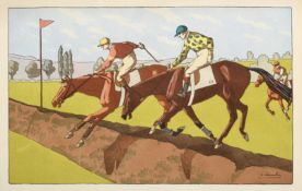 Charles Ancelin (1863 - 1940) French Under starter's orders Lithograph, together with three further
