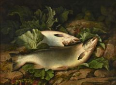 Attributed to John Bucknell Russell (1819-1893) Landed Salmon on the riverbank Oil on canvas, 62cm