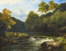 John Brandon Smith (1848-c.1893) Angler in an extensive woodland landscape Signed and dated 1878,