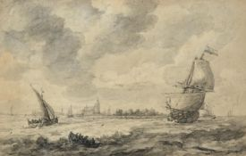 Attributed to Karel la Fargue (1738-1793) Dutch Estuary scene with shipping before a town Bears