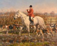 Frederick J Haycock (b.1948) Huntsman and Hounds Signed, oil on canvas, 59cm by 74.5cm Artist's