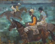 Michael Lawrence Cadman (1920-2012) Race horses with jockeys up Signed, oil on canvasboard, 40cm