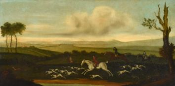 Style of John Nost Sartorius (1759-1828) Hunt and hounds on the scent in an extensive landscape