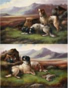 Robert Cleminson (fl.1864-1903) Spaniels with the day's bag Signed, oil on canvas, together with a
