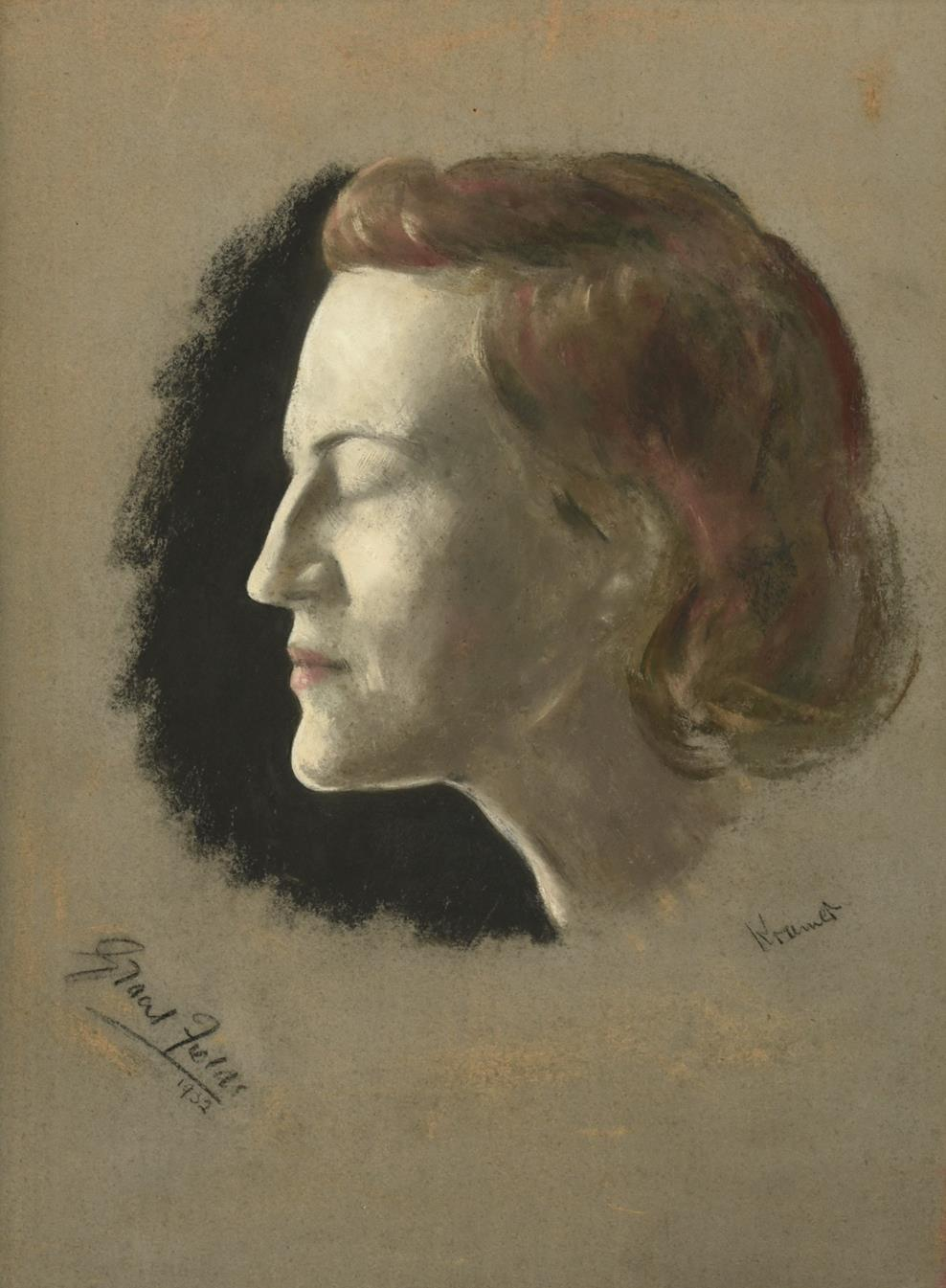 Jacob Kramer (1892-1962) ''Gracie Fields'', head study portrait in profile Signed, inscribed and
