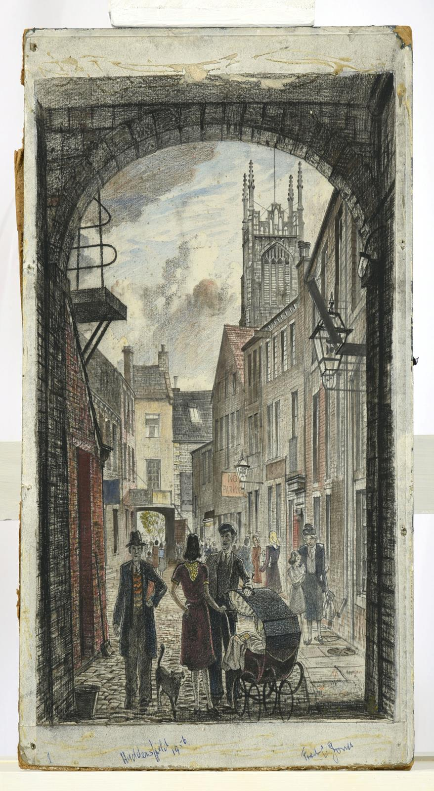Frederick (Fred) Cecil Jones RBA (1891-1966) ''Huddersfield'' Indistinctly signed, inscribed and - Image 2 of 8
