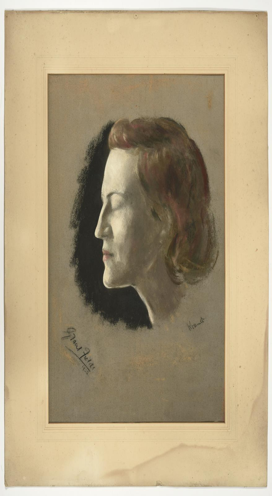 Jacob Kramer (1892-1962) ''Gracie Fields'', head study portrait in profile Signed, inscribed and - Image 2 of 3