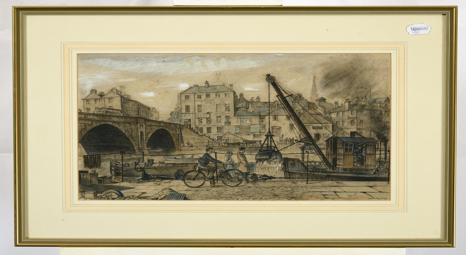 Frederick (Fred) Cecil Jones RBA (1891-1966) ''York'' Signed, inscribed and dated 1943, mixed media, - Image 2 of 2