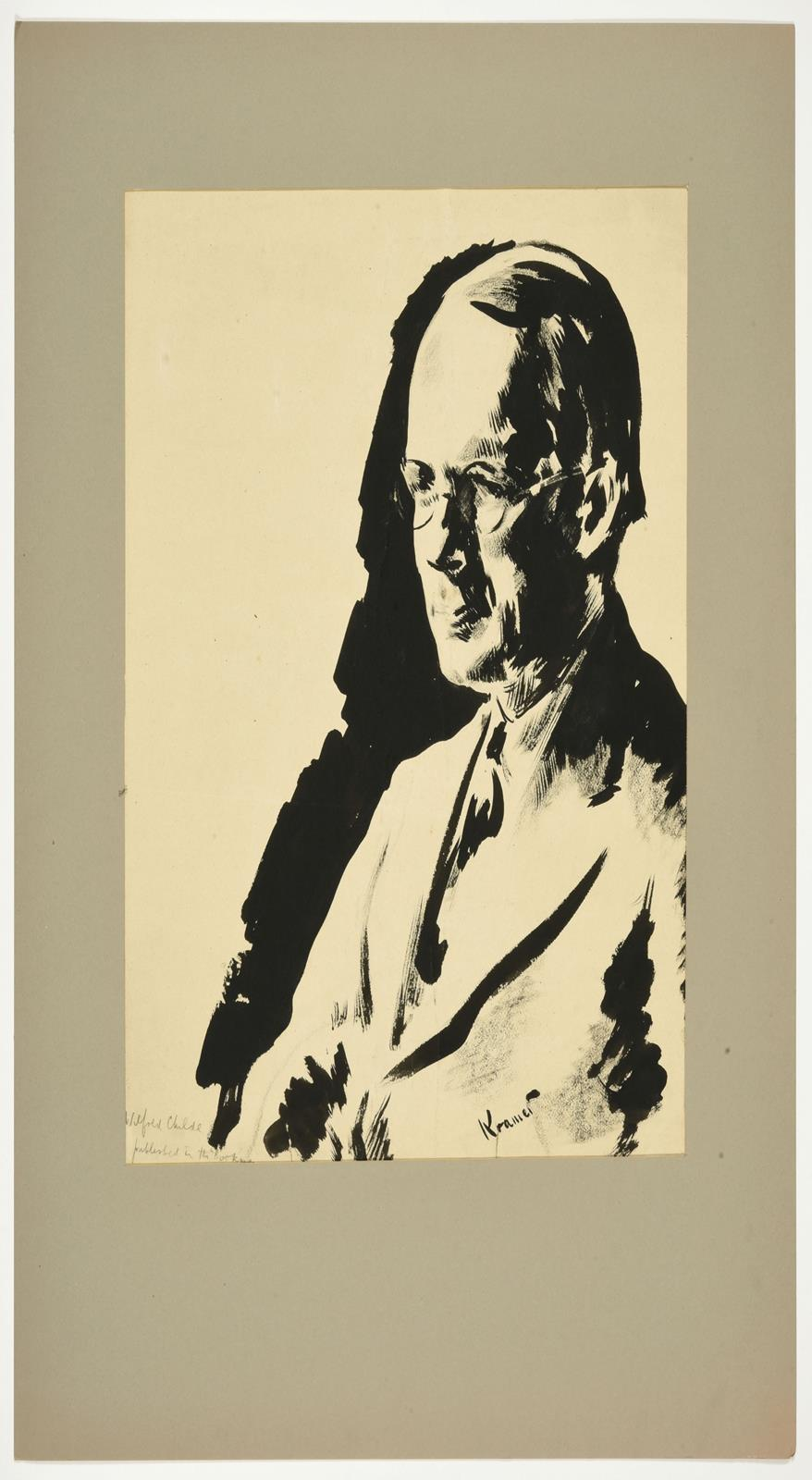 Jacob Kramer (1892-1962) ''Wilfred Childe'', head and shoulders portrait Signed, inscribed with - Image 2 of 3