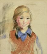 Philip Naviasky (1894-1983) Portrait of a young girl, head and shoulders, wearing a purple spotted