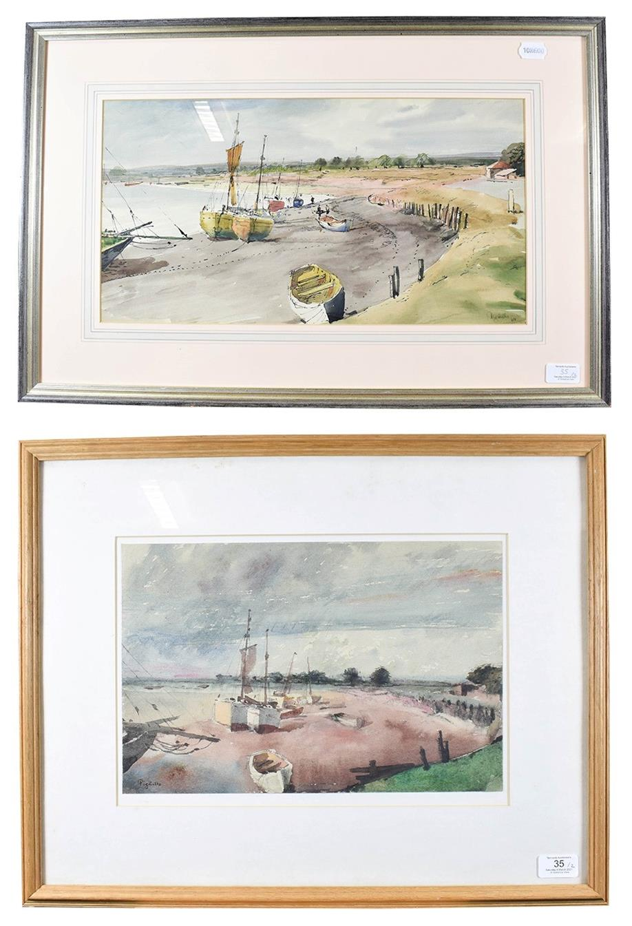 Joseph Pighills (1902-1984) ''Boats at Maldon, Essex'' Signed and dated (19)64, mixed media,