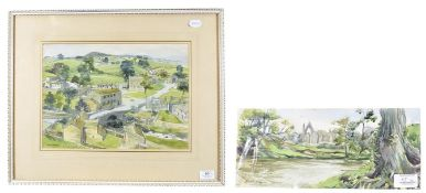 Janet Rawlins (b.1931) ''Bolton Abbey'' Signed, inscribed verso, pencil and watercolour, unframed,