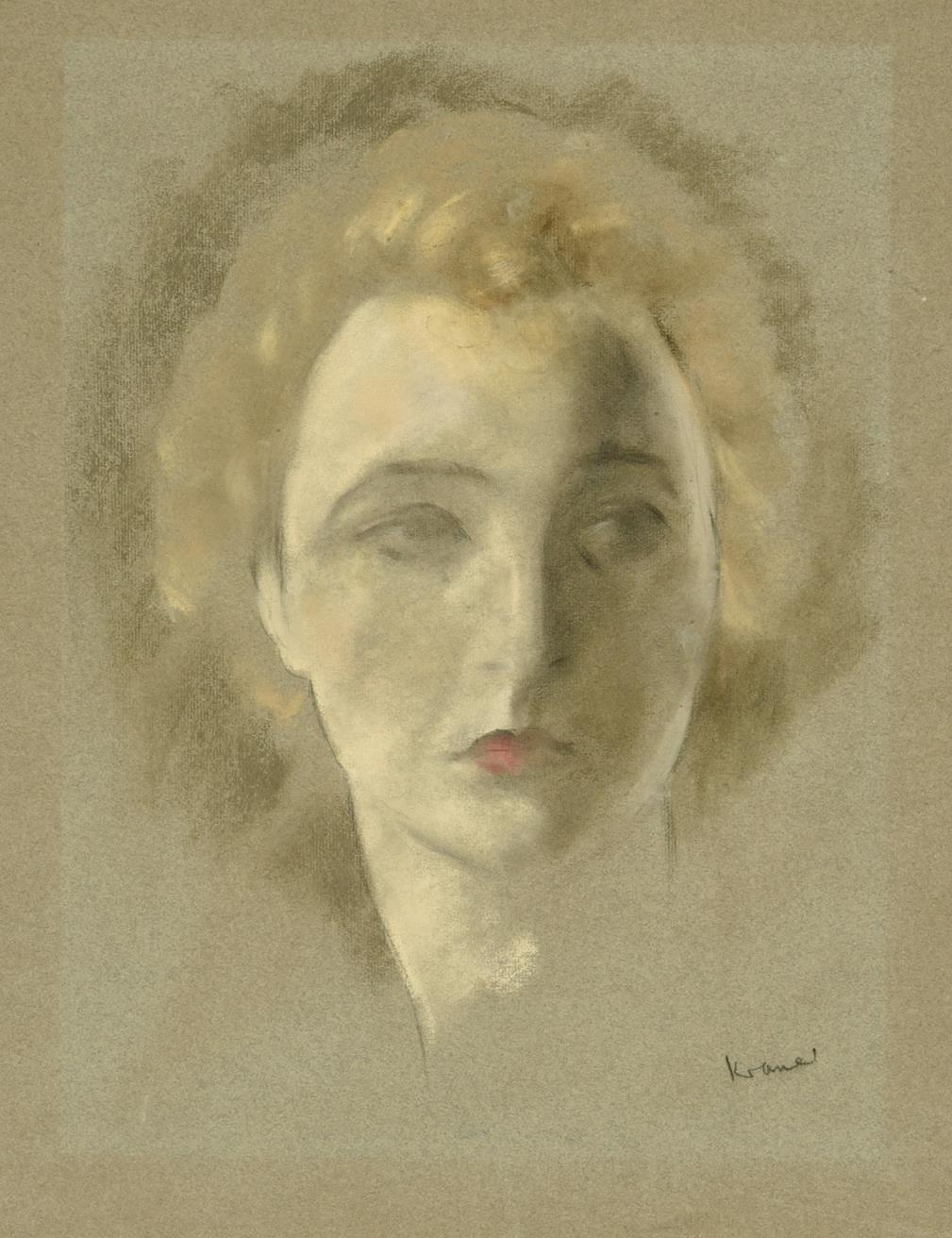 Jacob Kramer (1892-1962) ''Portrait of a Tragedienne'' Signed, inscribed with the title in biro in