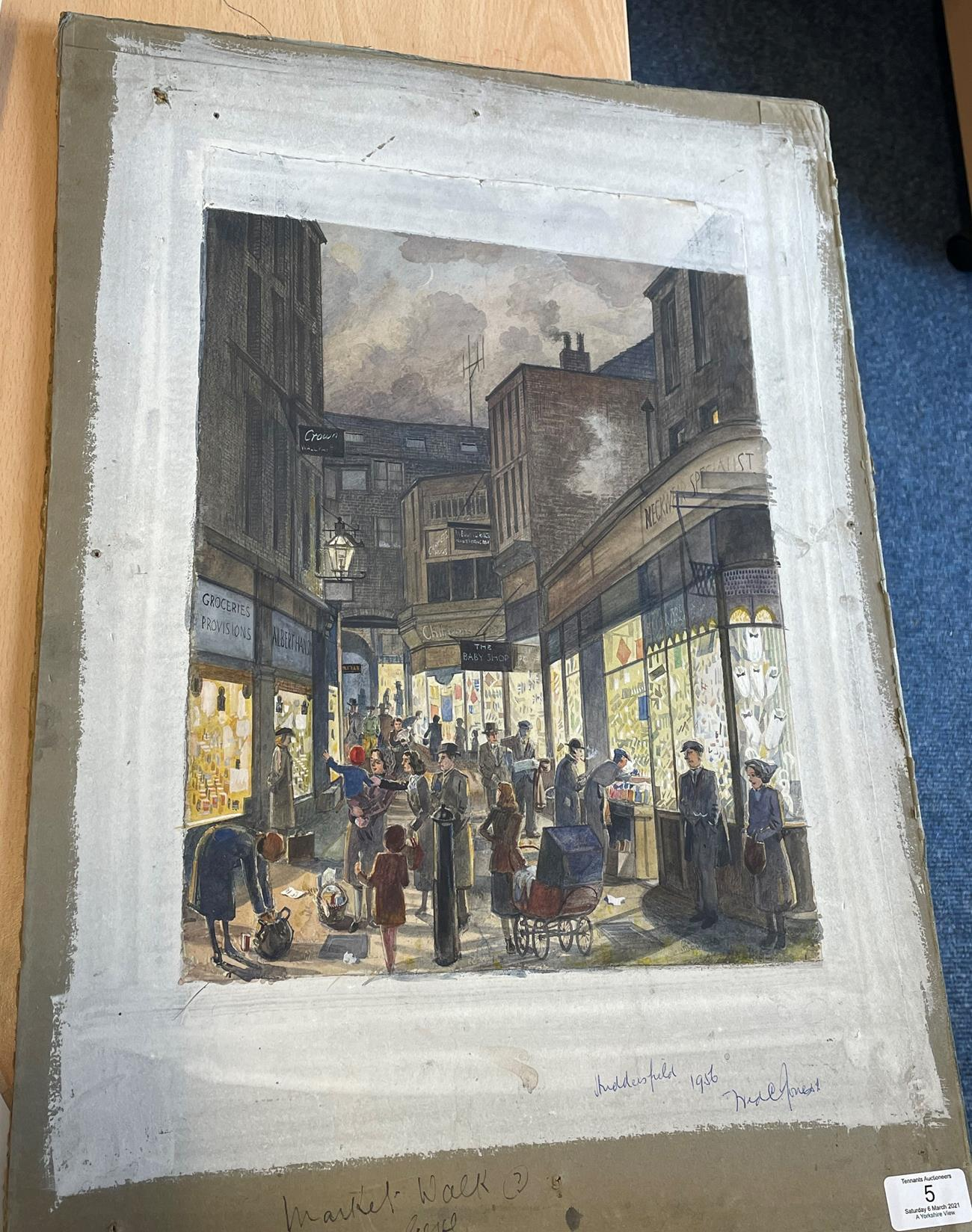 Frederick (Fred) Cecil Jones RBA (1891-1966) ''Huddersfield'' Indistinctly signed, inscribed and - Image 7 of 7