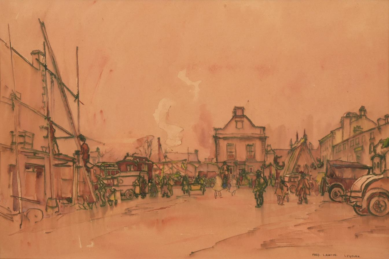 Frederick (Fred) Lawson (1888-1968) ''Leyburn'' Fair Signed and inscribed, ink and watercolour, 35cm