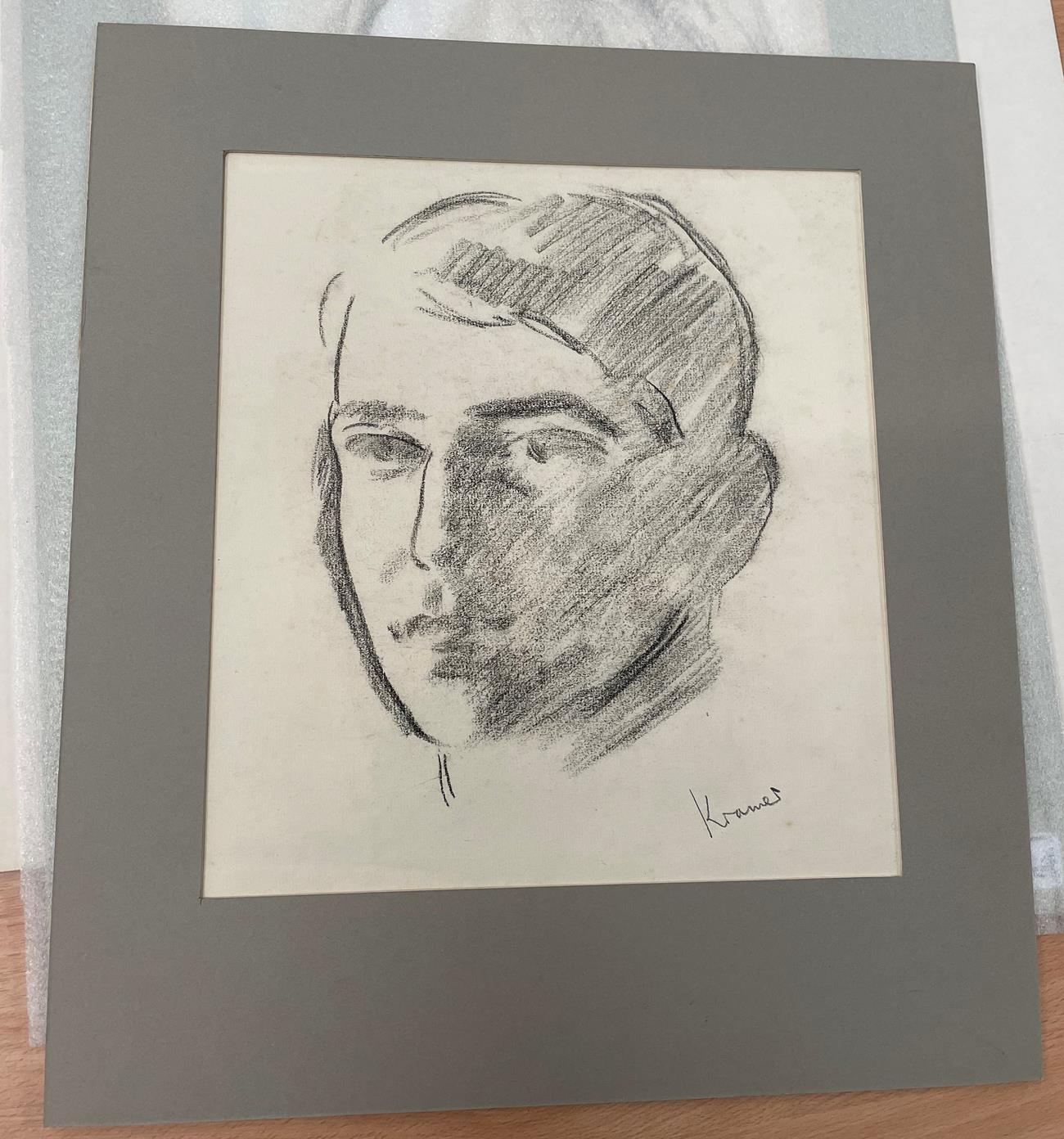 Jacob Kramer (1892-1962) ''Evelyn Williams'', Head portrait study Signed, inscribed with sitter - Image 4 of 8