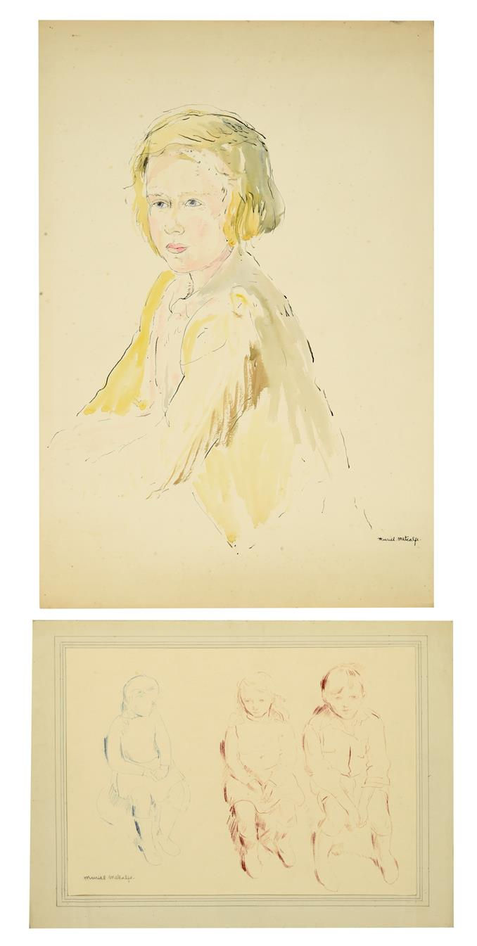 Muriel Metcalfe (1910-1994) Portrait of a young blonde girl, three-quarter length, seated Signed,