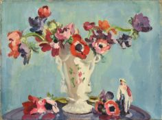 Philip Naviasky (1894-1983) Still life of anemones in a porcelain vase and a figurine Signed on